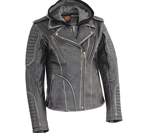 dcc14ebc3 Milwaukee Leather MLL2516-BLK-XL Women's Rub-Off Motorcycle Jacket ...