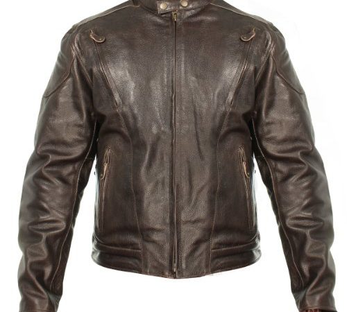 a8703845b1 Xelement B7203 Mens Speedster Retro Brown Premium Leather Motorcycle Jacket  wit – Large